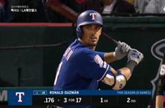 '폴에 맞은 홈런!' 구즈만, 텍사스의 매서운 초반 러쉬